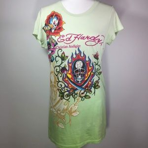 Ed Hardy by Christian Audigier Mint Green Tee Larg